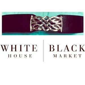 WHBM black stretch belt silver buckle NWT Large